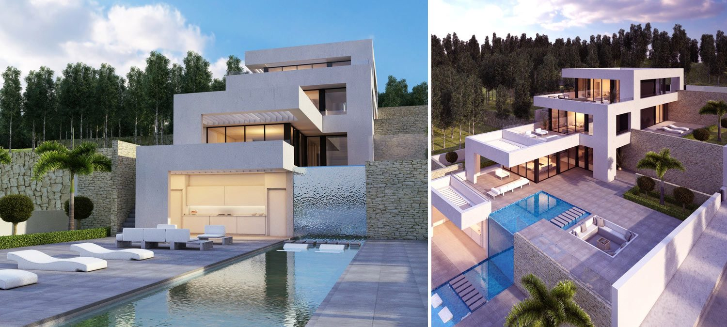 Composition of two images of exclusive villa in Alta Alicante Spain