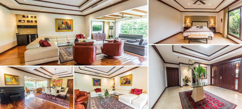 Collage of interiors of modern luxury villa in Santa Ana Costa Rica