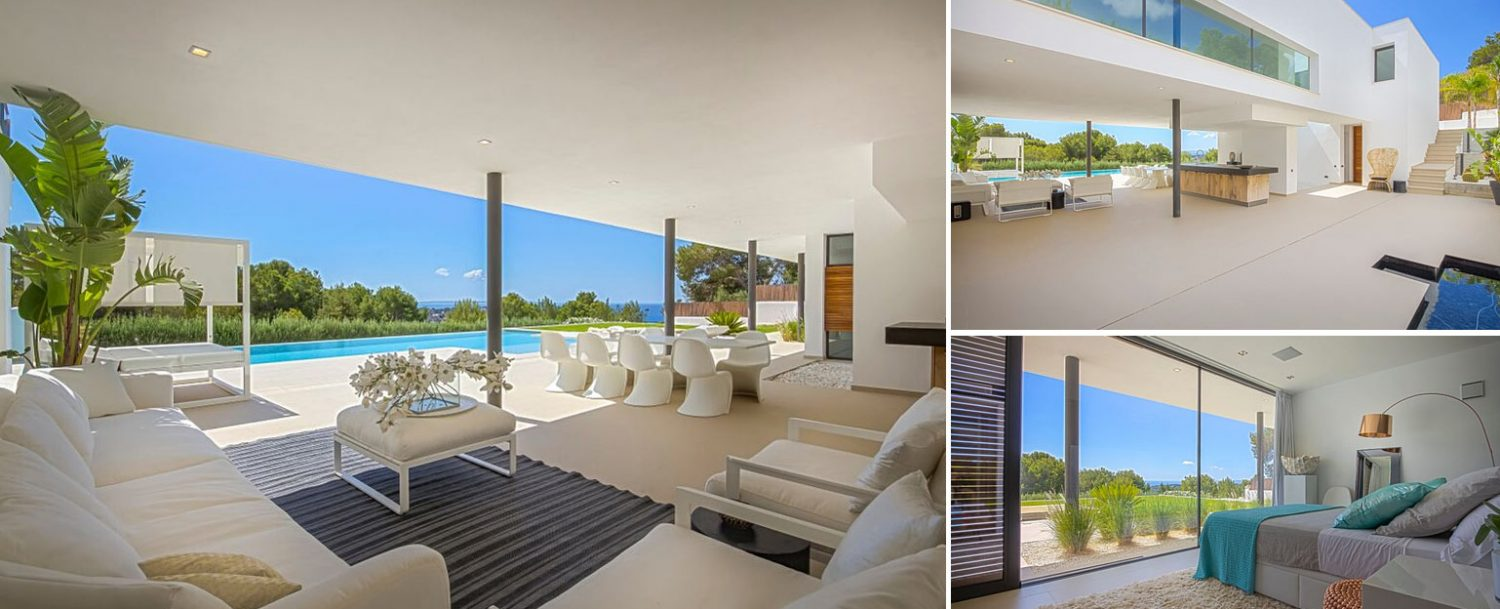 Collage with exteriors of modern villa in Vista Alegre Ibiza