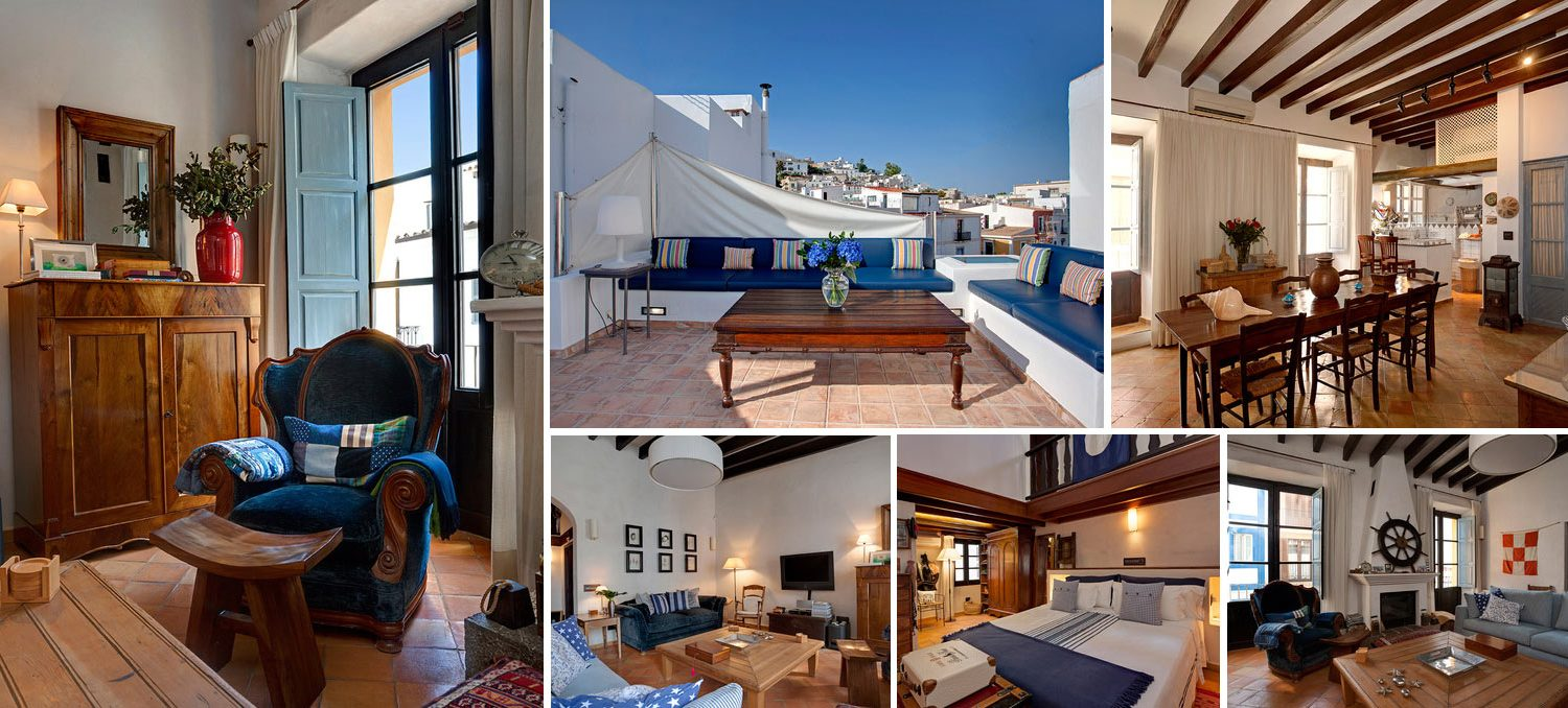 Collage with images from apartment in Ibiza town