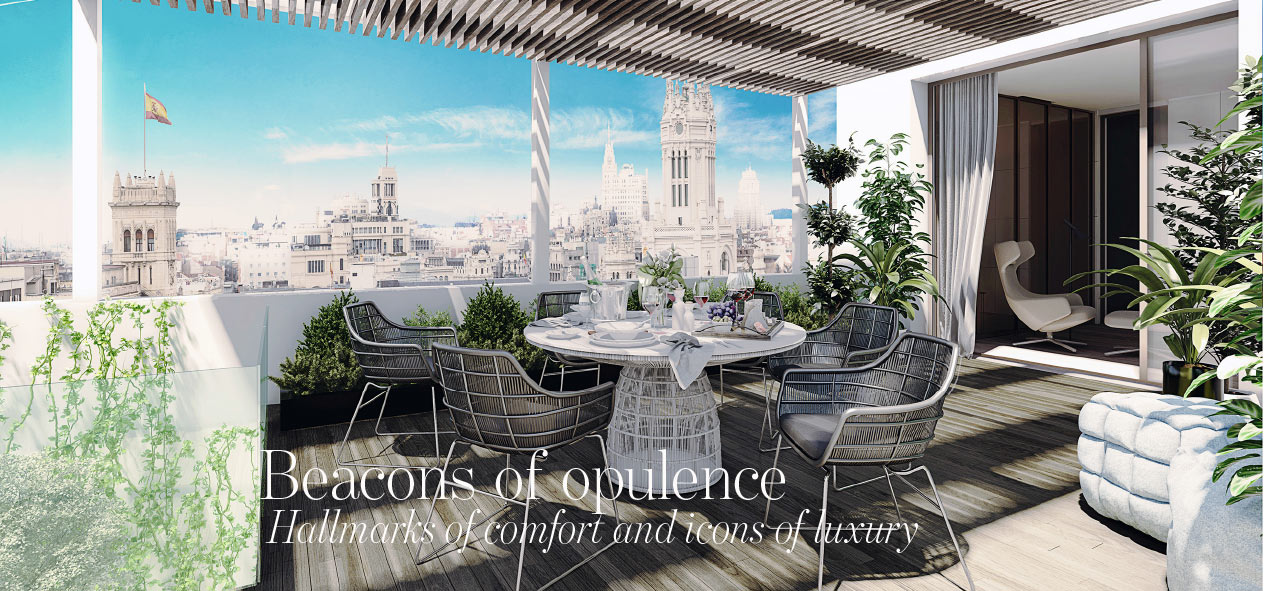 Roof top terrace in luxury apartment in Jeronimos Madrid centre