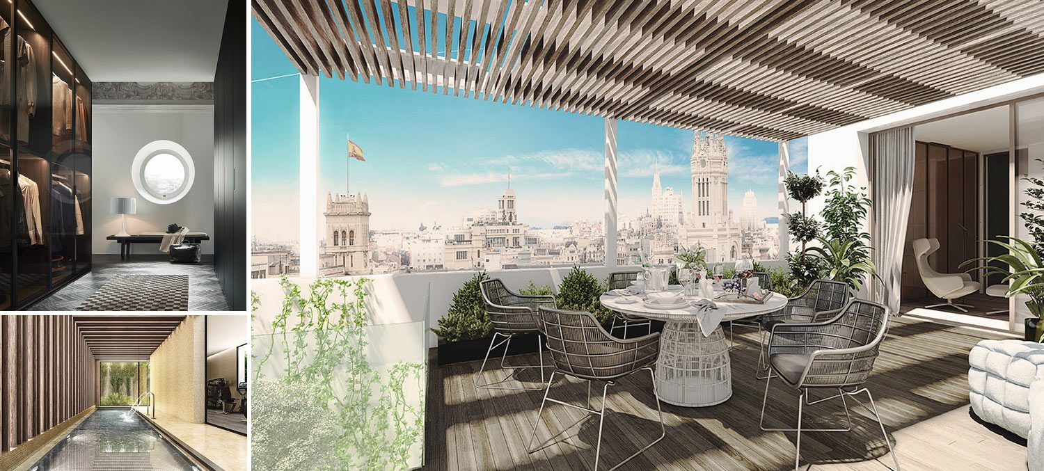 Image collage exclusive madrid apartment with a stunning roof terrace