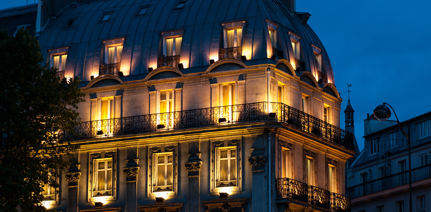 Building in Paris France at night
