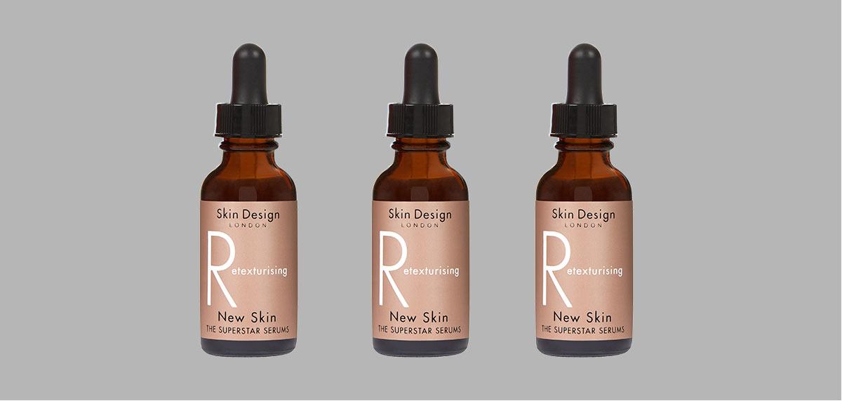3 bottles of retexturising facial serum from Skin Design London