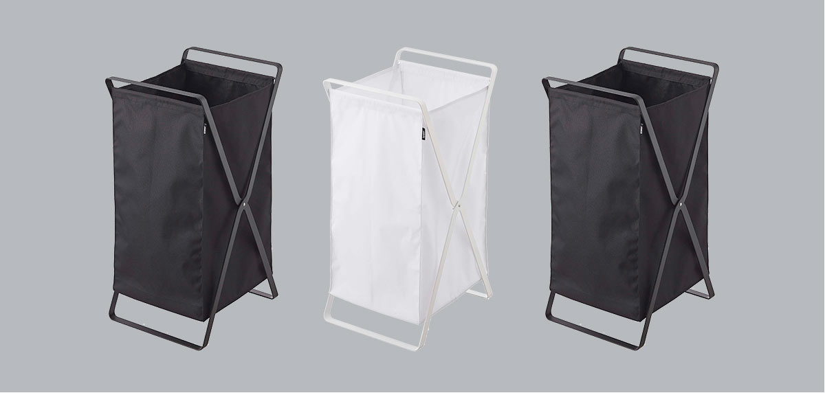 Yamazaki laundry bins in white and black