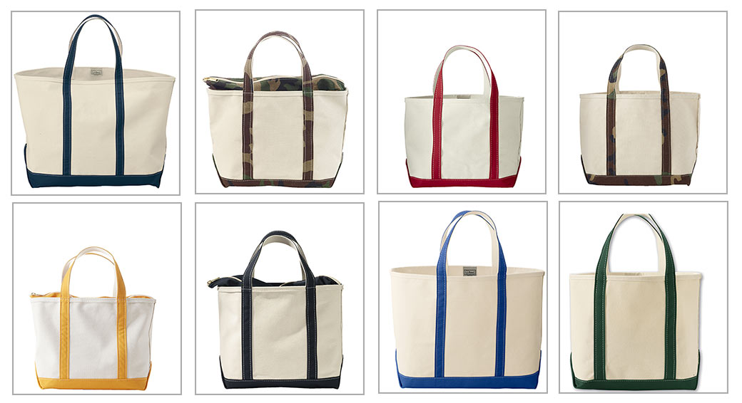 Collection of LL Bean tote and boat bags