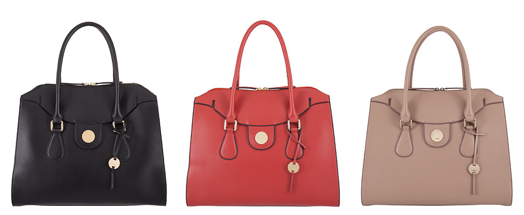 Lodis tote bags in black, red and beige